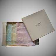 1930s Hankies Linen Set 3 Vintage Pastel Drawnwork Unused Original Box Hahne