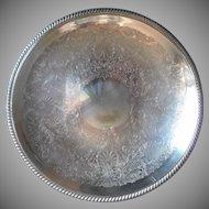 Huge Salver Silver On Copper Vintage Tray Shallow Shabby Elegant
