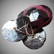 Antique Buttons Large Heavy Black Glass Coat Faceted Set 5
