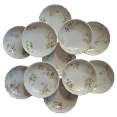 Haviland Limoges 11 Butter Pats Antique French China Pink White Green - Red Tag Sale Item
