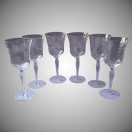 6 Vintage Water Wine Goblets Glasses Stemware Vintage Engraved