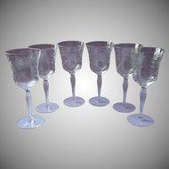 6 Vintage Water Wine Goblets Glasses Stemware Vintage Engraved