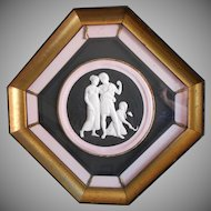 Vintage Framed Plaster Bas Relief Pink Black Gold Octagon Wood Frame
