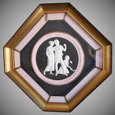 Vintage Framed Plaster Bas Relief Pink Black Gold Octagon Wood Frame