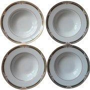 Royal Doulton Forsyth 4 Rimmed Soup Bowls English Bone China Vintage