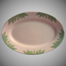 Art Deco Platter Jadeite Green White Vintage Restaurant China Weight Sterling