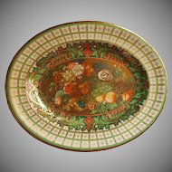 Vintage Tin Tray Daher Ware Fruits Flowers Green Plaid Effect Rim