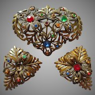 1930s Dress Clips Brooch Set Vintage Needs Stones