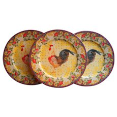 Petite Provence Rooster Dinner Plates 3 American Atelier 10.5 Inch