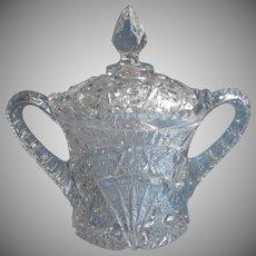 Huge Antique Sugar Bowl Pressed Glass EAPG Lid Chipped Use As Huge Spooner