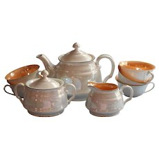1920s 1930s Czech Tea Set Luster China Vintage Teapot Creamer Sugar 5 Cups No Saucers - Red Tag Sale Item