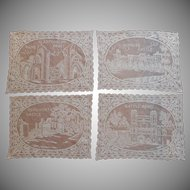 1920s Filet Lace Placemats Vintage Castle Abbey Kenilworth Glastonbury Windsor Battle