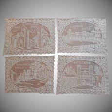 1920s Filet Lace Placemats Vintage Castle Abbey Kenilworth Glastonbury Windsor Battle