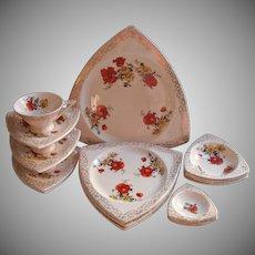 1930s Triangular Shape China Set Vintage Art Deco Poppies Gold Lace Cups Sacuers Plates Etc