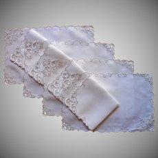 Vintage Madeira Placemats Napkins Set Linen Hand Embroidery Cutwork Ecru