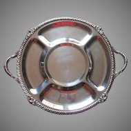 Big Vintage Silver Tray Handles Footed Party Serving Crudites Unusual Heavy