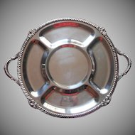 Big Vintage Silver Tray Handles Footed Party Serving Crudites Unusual Heavy