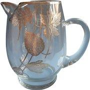 Sterling Silver Overlay Cocktail Pitcher Leaves Motifs Vintage Barware Midcentury