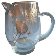 Sterling Silver Overlay Cocktail Pitcher Leaves Motifs Vintage Barware Midcentury