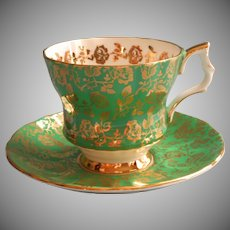Vintage Royal Canadian English Bone China Cup Saucer Green Gold Holiday