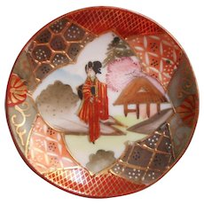 Antique Satsuma China Butter Pat Geisha Hand Painted