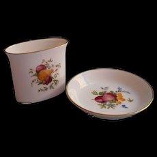 Royal Worcester Delecta Vintage China Smoking Set Ashtray Pin Dish Cigarette Vase - Red Tag Sale Item