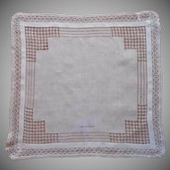 Antique Hankie Lace Drawnwork Lucy. E. Hull Inked Owner Name