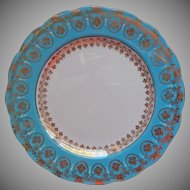Royal Standard Tea Plate Turquoise Gold White Vintage Bone China