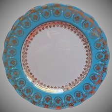 Royal Standard Tea Plate Turquoise Gold White Vintage Bone China