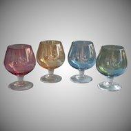 Vintage Colored Glass Set Miniature Snifter Liquor Glasses Cut Stars 5 Ounce