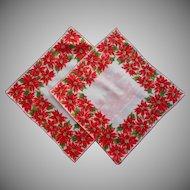 Vintage Christmas Hankies Hankie Pair Matching Printed Poinsettias