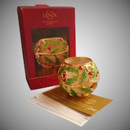Lenox Holiday Gold Enameled Holly Votive Candle Holder Original Box