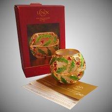Lenox Holiday Gold Enameled Holly Votive Candle Holder Original Box