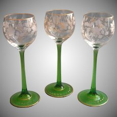 Antique Bohemian Glass Dessert Wine Glasses Engraved Cut Gold Green Stems