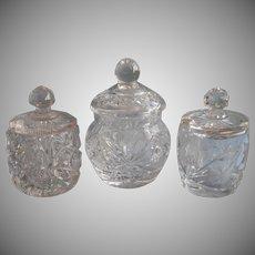 Cut And Pressed Glass Mustard Condiment Jam Pots Jars Vintage TLC