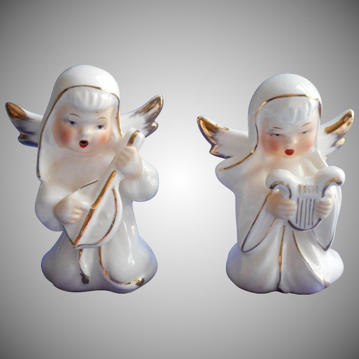 vintage 1950s japan christmas angel figurines pair gold white hand painted - Christmas Angel Figurines