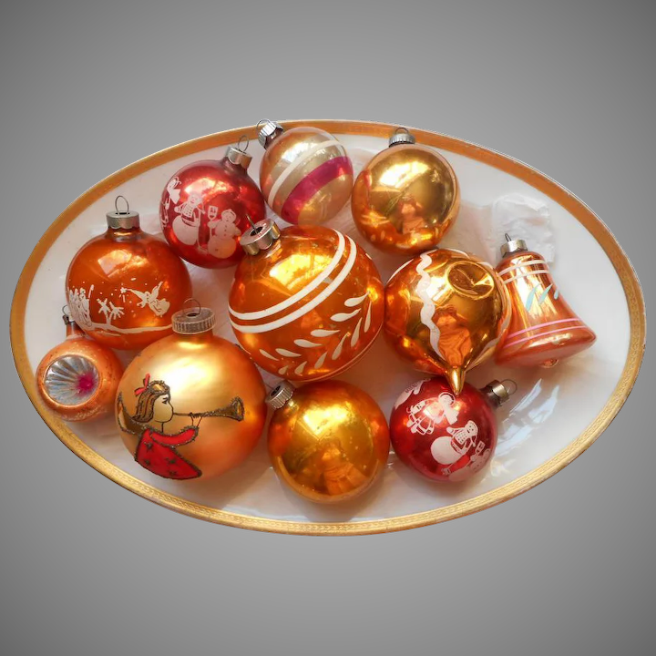 Old Christmas Decorations.Vintage Christmas Ornaments Glass All Orange Shiny Brite Poland Usa Austria Etc