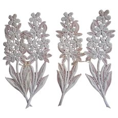 Vintage Lace Appliques Flowers Leaves 6.75 Inches Long