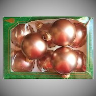 Krebs Vintage Bronze Mauve Mocha Velvet Glass Christmas Tree Ornaments 9