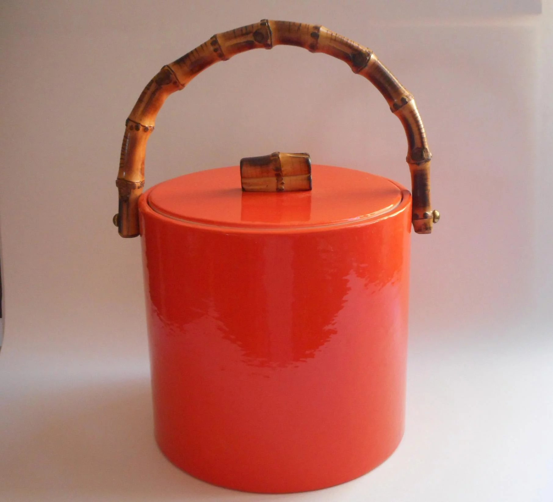 Vintage Vinyl Ice Bucket Groovy Orange Bamboo Handle Knob