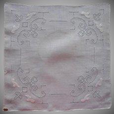 Vintage Hankie Linen Original Label Pulled Thread Work Appliqued