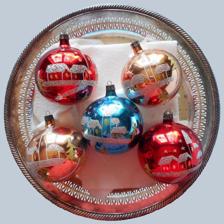 Set of 3 Ruby Red Metallic Painted and Glittered Christmas Ornaments