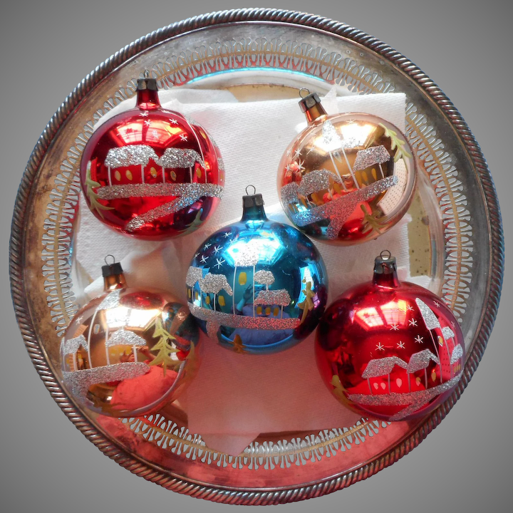 Vintage Glass Christmas Ornaments Poland Larger 3 Inch Hand Painted Glitter