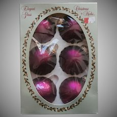 Vintage Krebs Glass Christmas Tree Ornaments Sugar Plum HTF Original Box