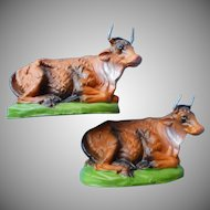 Vintage Nativity 2 Cow Cows Ox Oxes Oxen  Italy Paper Mache Papier