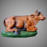 Vintage Nativity Cow Ox Italy Paper Mache Papier