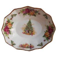 Royal Albert Christmas Magic Lemon Sweetmeats Trinket Dish Vintage English Bone China - Red Tag Sale Item