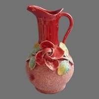 Sand Majolica Vintage Ewer Form Vase Rose Leaves Deep Pink Green Pottery