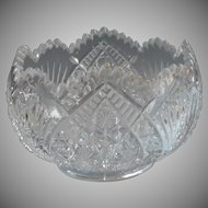 Antique Bowl For Flowers or Serving EAPG Pressed Glass Open Rose Bowl