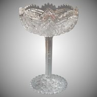Antique Tazza Compote High Stem EAPG Pressed Glass Pedestal